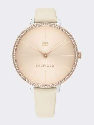 Tommy Hilfiger Crystal Embellished Leather Strap Watch
