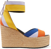 Pierre Hardy Leather-trimmed canvas wedge sandals