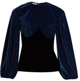 Emilia Wickstead Pandora bi-colour gathered velvet top