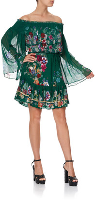 Camilla Floral-Embroidered Chiffon Off-the-Shoulder Dress
