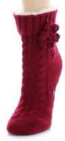 Me Moi Cabernet Braided Botany Sherpa-Lined Slipper Socks