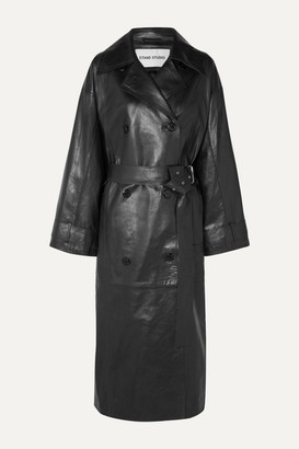 Stand Studio Eliora Leather Trench Coat - Black