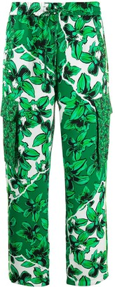 Iceberg Floral-Print Pull-On Cargo Trousers