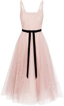 Marchesa Tulle Star-Embroidered Midi Dress