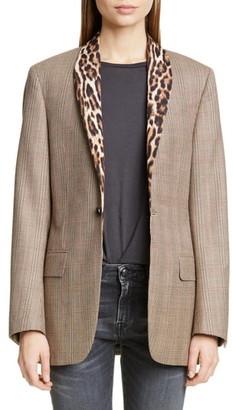 R 13 Mixed Print Shawl Collar Jacket