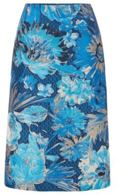 HUGO BOSS Midi Length A Line Skirt In Italian Floral Jacquard - Patterned