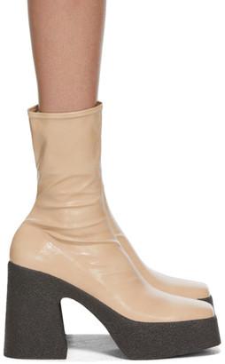 Stella McCartney Beige Patent Block Heel Boots