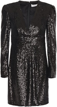 A.L.C. Wrap-effect Sequined Tulle Mini Dress