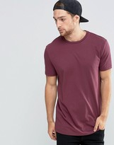Asos Longline T-Shirt With Crew Neck In Red