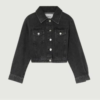 BA&SH Gray Denim Dilan Cropped Jacket - s