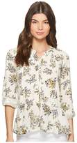 Lucky Brand Printed Peplum Button Up Top Women's Long Sleeve Button Up