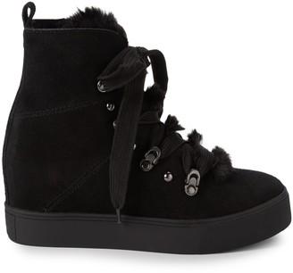 J/Slides Whitney Faux Fur & Suede Hidden Wedge-Heel Booties