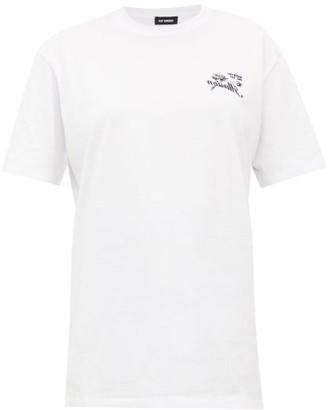 Raf Simons Illusion-embroidered Cotton-jersey T-shirt - Womens - White Multi