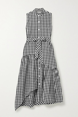 Derek Lam 10 Crosby Nerioa Belted Gingham Cotton-poplin Midi Dress - Black