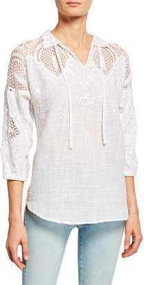 XCVI Jill Crochet Tie-Neck Blouse