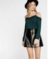 Express cold shoulder lace trim long sleeve blouse