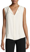 Theory Alamay Classic Georgette Sleeveless Split-Neck Top, White