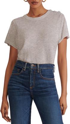 Veronica Beard Jeans Carla Short-Sleeve Pima Crewneck Tee with Buttoned Shoulders
