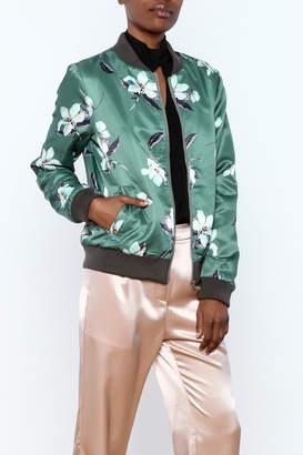 Esley Sage Floral Bomber Jacket