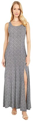 MICHAEL Michael Kors Paisley Geo Scoop Neck Maxi (Black/White) Women's Dress