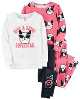 "Carter's Girls 4-12 Rise & Shine Superstar"" Dog Tops & Bottoms Pajama Set"