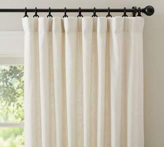 Pottery Barn Emery Linen/Cotton Pole-Pocket Blackout Curtain - Blue Dawn