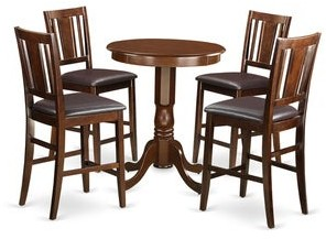 East West Furniture Mahogany Rubberwood 5-piece Counter-height Pub Dining Set