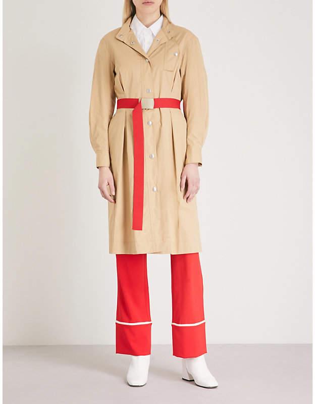 Mo&Co. Belted cotton shirt dress