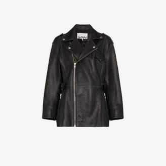 Ganni belted Leather Biker Jacket