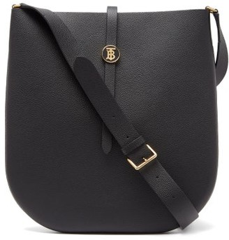 Burberry Tb-monogrammed Grained-leather Cross-body Bag - Womens - Black