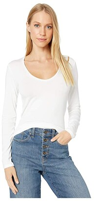 Majestic Filatures Long Sleeve Flat Edge V-Neck Tee (Blanc) Women's T Shirt