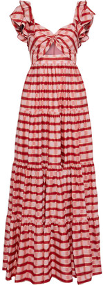 Diane von Furstenberg Shea Twist-front Cutout Checked Organza Maxi Dress