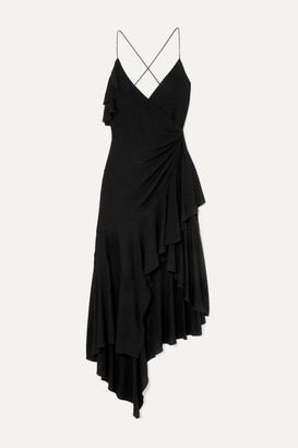 Philosophy di Lorenzo Serafini Crystal-embellished Wrap-effect Ruffled Jersey Dress - Black