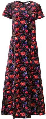 La DoubleJ Velvet Pavone Nero swing dress