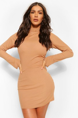 boohoo High Neck Split Sleeve Bodycon Mini Dress