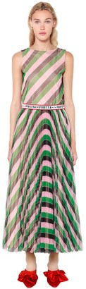 VIVETTA Striped Plisse Tulle Dress W/ Logo Belt