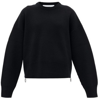 Paco Rabanne Zipped-side Knitted-wool Sweater - Black