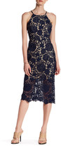 Romeo & Juliet Couture Woven Open Back Floral Lace Midi Dress