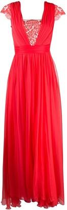 Rhea Costa Lace-Insert Pleated Maxi Dress