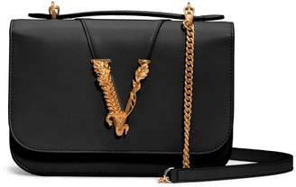 Versace V Leather Top Handle Bag