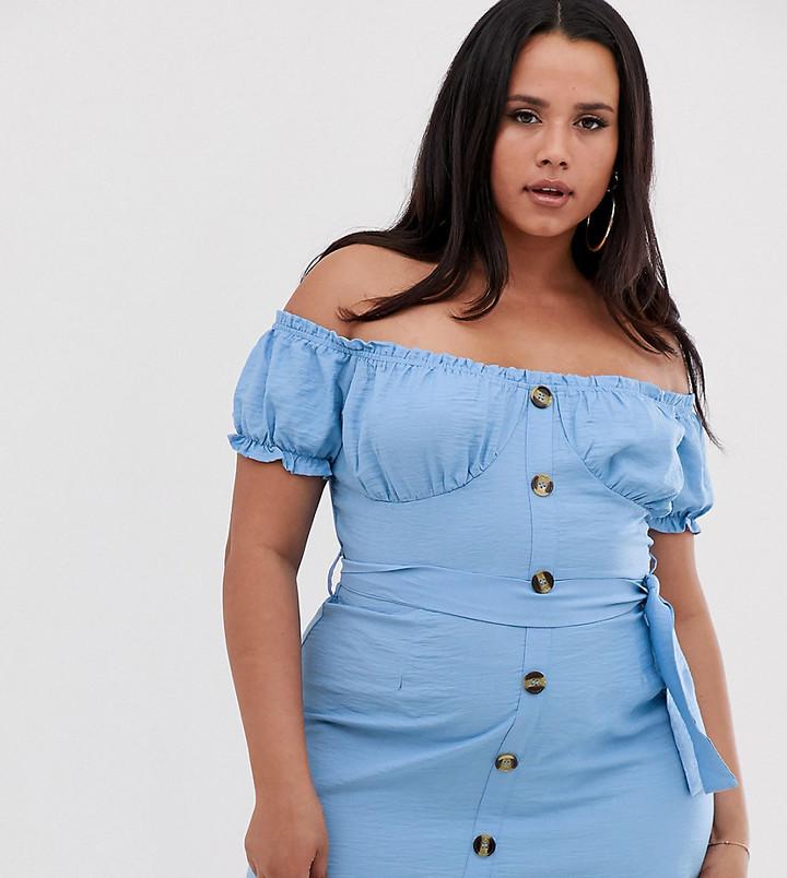 Lasula Plus off shoulder button through mini dress with belt in blue