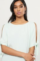 Dynamite Cold Shoulder Tee with Tied Sleeves