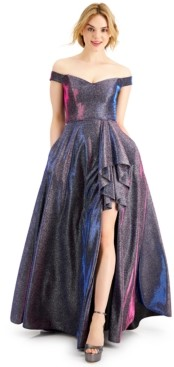 Blondie Nites Juniors' Off-The-Shoulder Glitter Gown