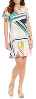 Adrianna Papell Cold Shoulder Striped Maze Printed Trapeze Dress