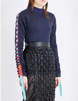 Martina Spetlova Ribbon-detail leather top