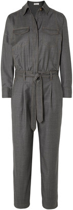 Brunello Cucinelli Belted Bead-embellished Wool-drill Jumpsuit