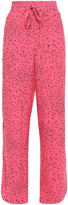 Ganni Barra Floral-print Crepe Wide-leg Pants