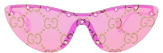 Gucci GG-print Metal Cat-eye Sunglasses - Womens - Pink Gold