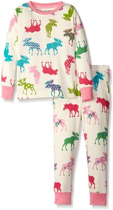 Hatley Little Blue House Girl's Pj Set-Patterned Moose Pyjama