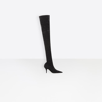 Balenciaga Knife Over-The-Knee Boots Velvet